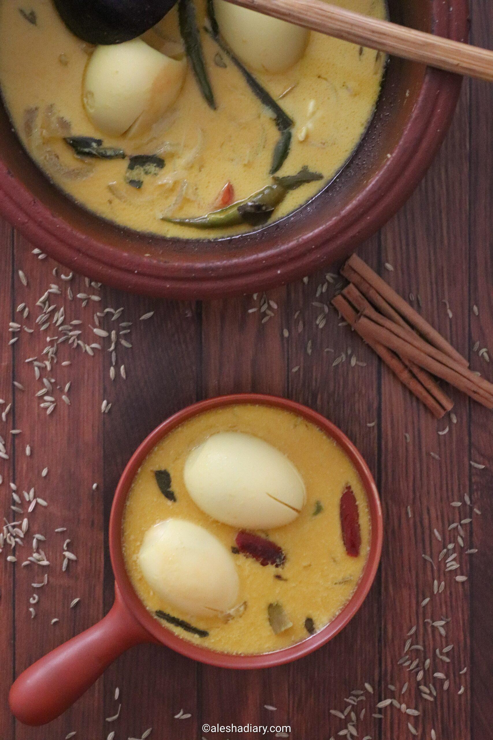 Egg coconut milk curry – Muttai thengapaal curry – Muttai sodhi