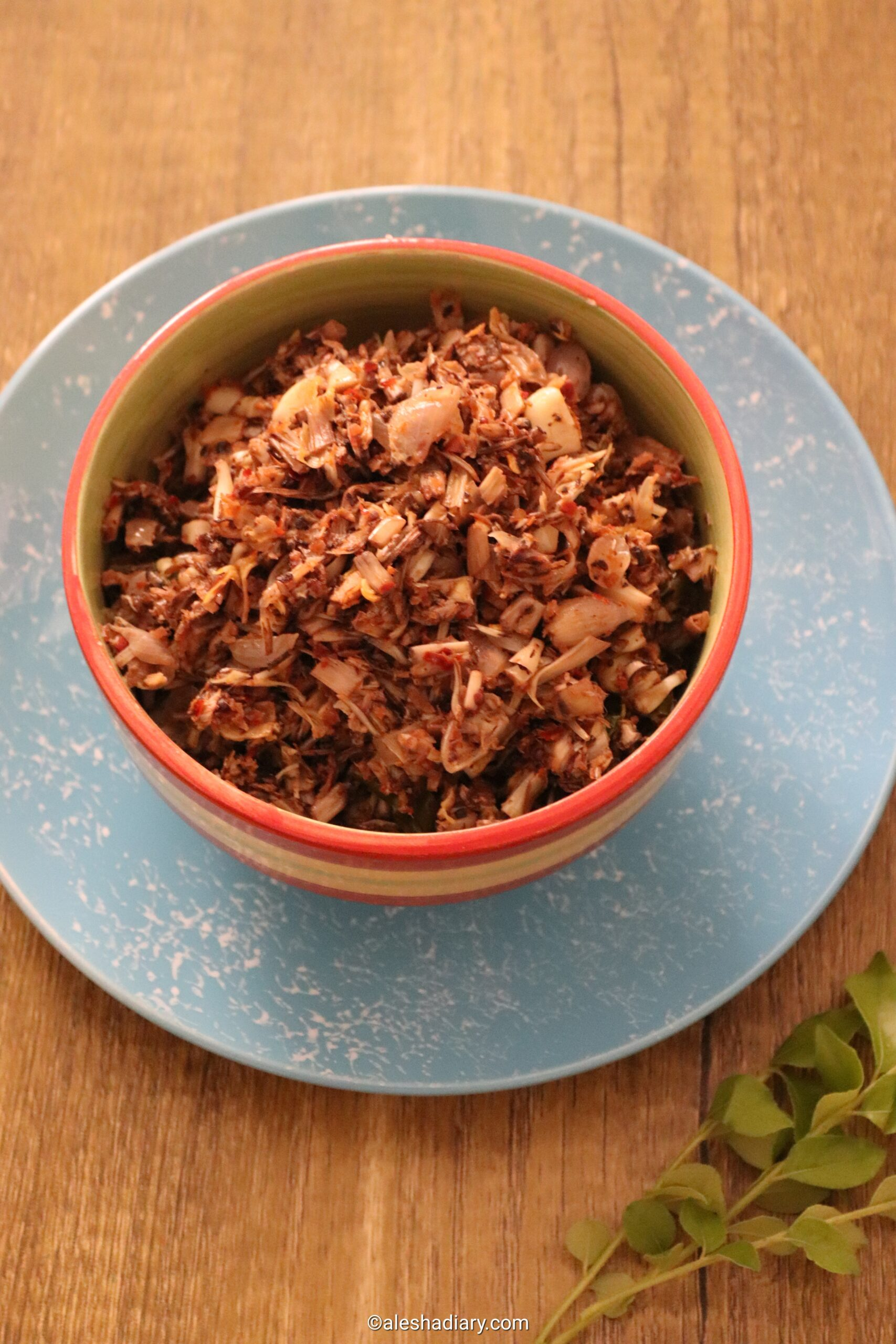 Vazhaipoo Masi poriyal -Vazhapoo masi karuvadu poriyal – Banana flower dried maldive fish stir-fry