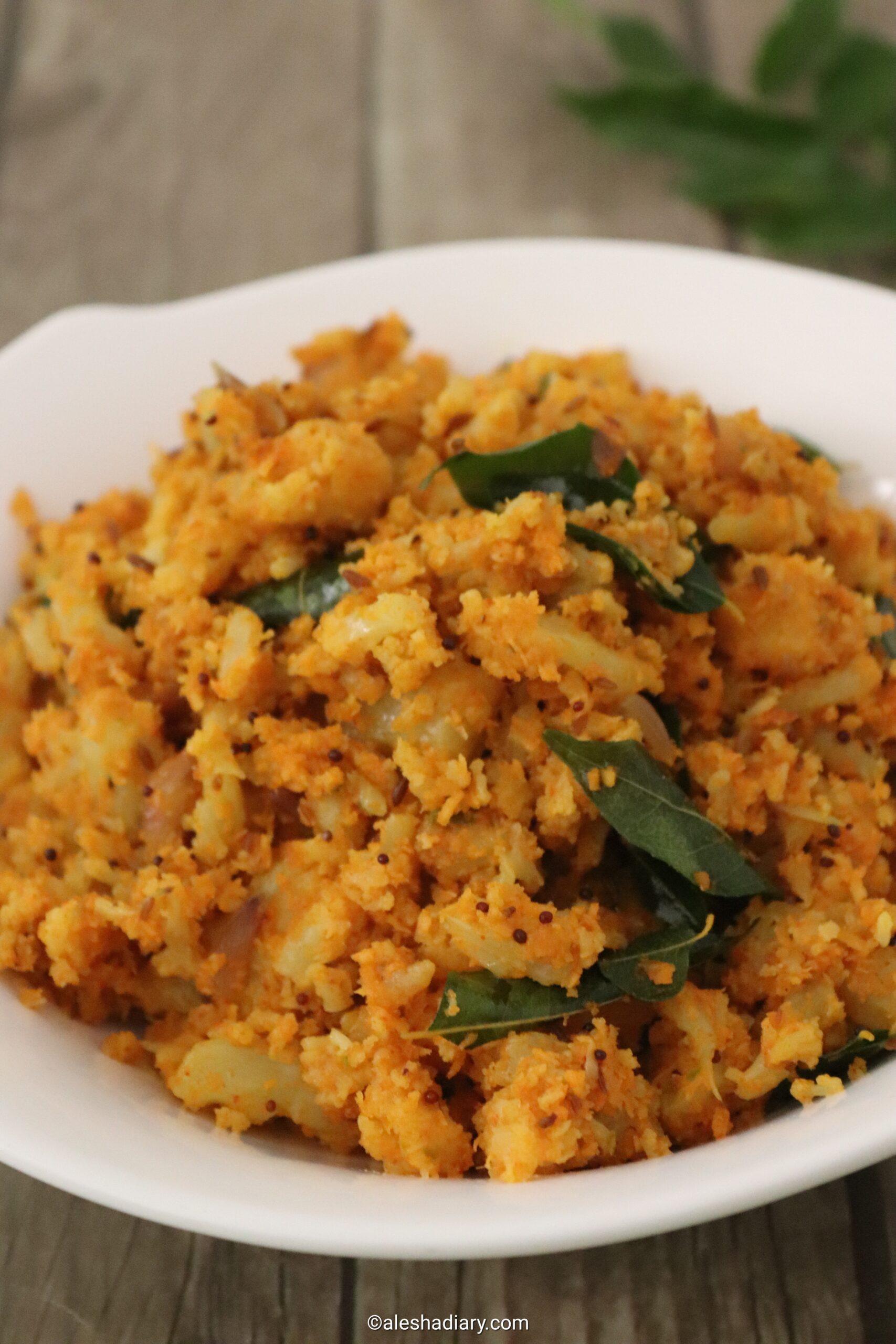 Cauliflower Thoran – Cauliflower stir-fry with Coconut