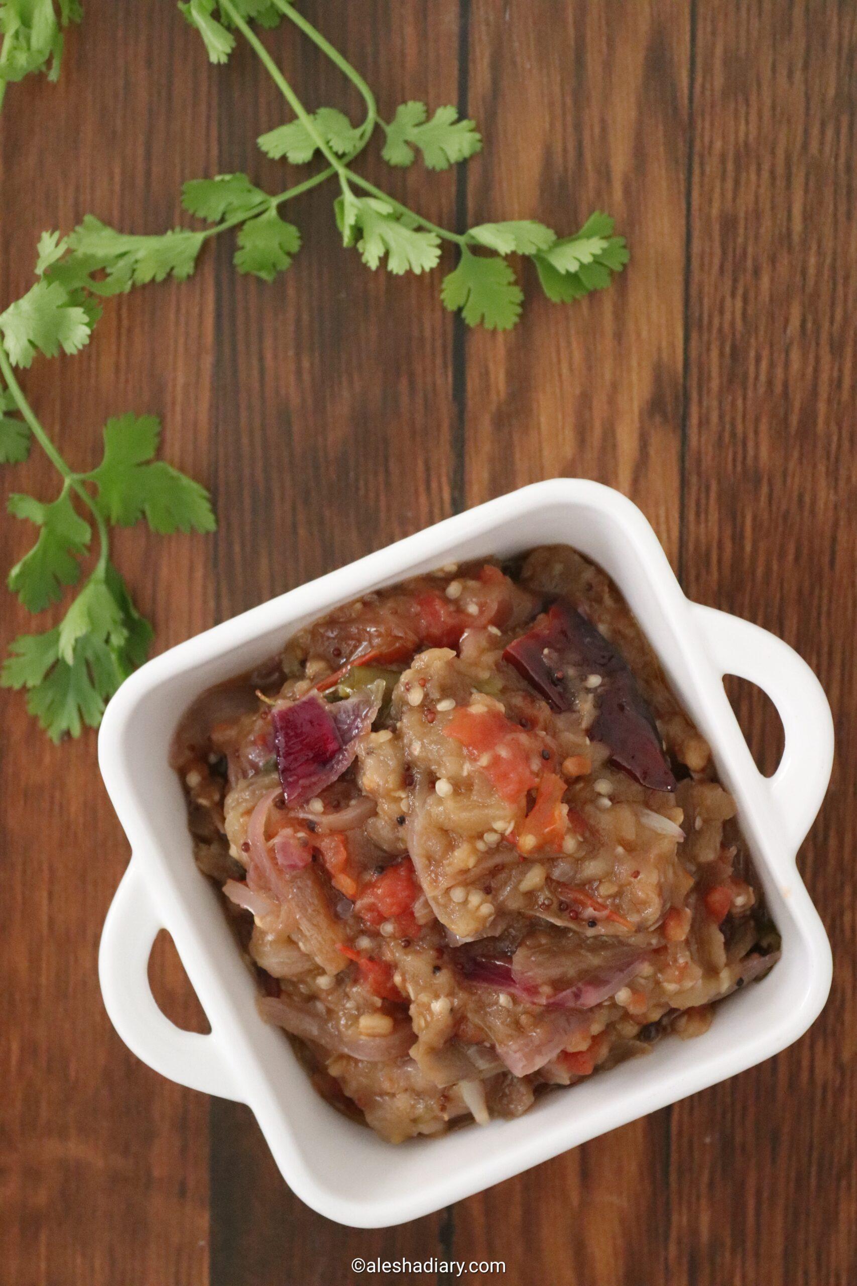 Kathrikai Kadaiyal – Mashed brinjal curry