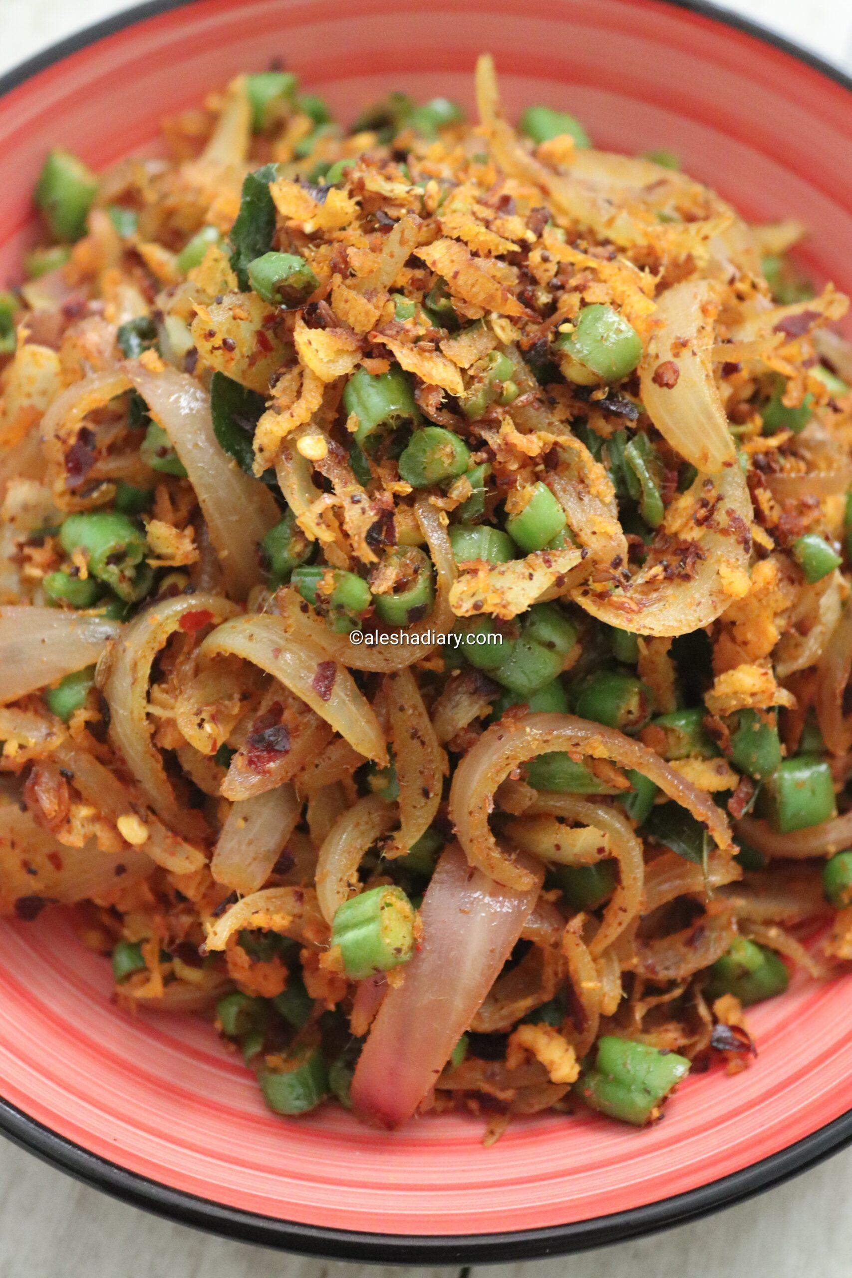 Green beans dried Maldives fish sambal – Beans Masi poriyal – Green beans masi stir fry