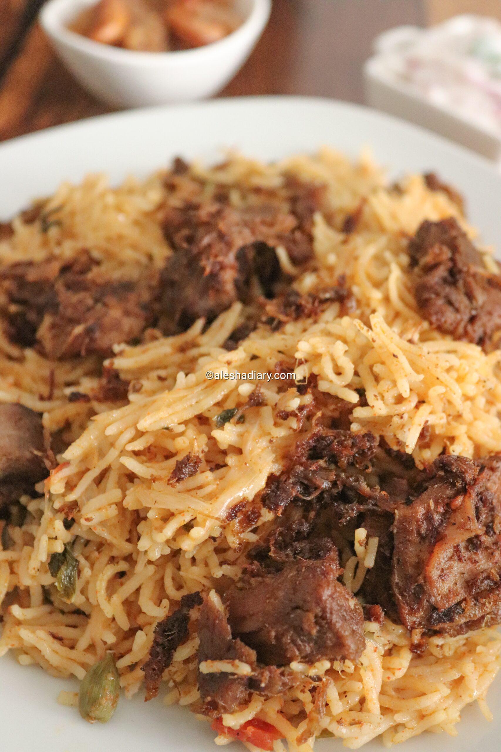 Fried mutton biryani – Biryani with fried mutton – Fried mutton piece biryani – Mutton biryani