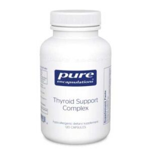Comprehensive formula containing vitamins, minerals and herbal extracts to support healthy thyroid cell metabolism and thyroid hormone function