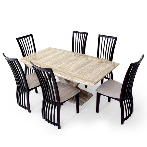 Italian Art Marble Six Seater Dining Set