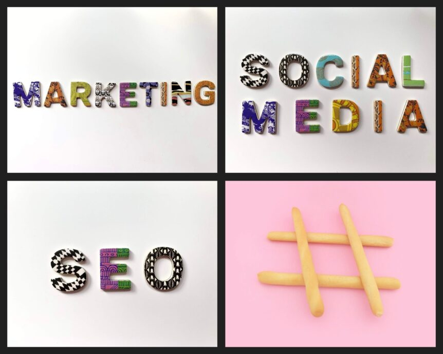 A table of four images showing marketing, social media, SEO and a hashtag