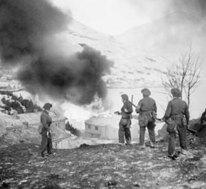 Burning ammunition dump