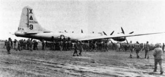 B-29 at Iwo Jima after an emergency landing