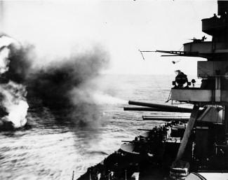 American battleship bombarding Iwo Jima