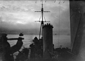 View from HMS Sheffield during arctic convoy duty