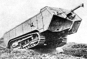 The French St Chamond tank driving over hilly grass, showing the overhanging front hull