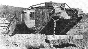 Tank Mk IV, deploying its unditching beam