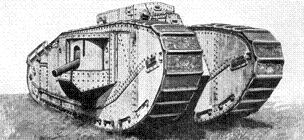 Grey graphic representation of a British Tank Mk VIII standing on grass