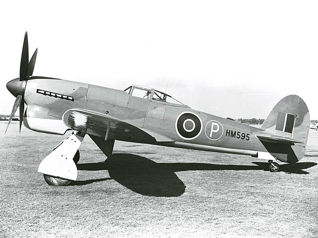 Black and white photograph of a Tempest V fighter plane prototype on the ground.