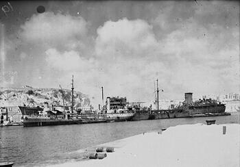 SS Ohio discharging its cargo in the Grand Harbour