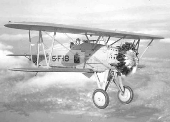 A Boeing F4B fighter plane in flight