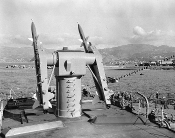 The RIM-2 Terrier surface-to-air-missile on board the USS Boston