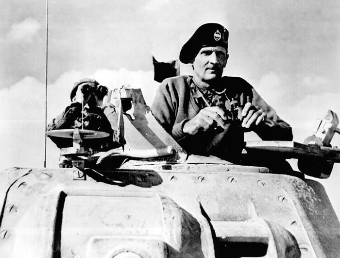 Lieutenant General Montgomery watching his tanks move up, November 1942