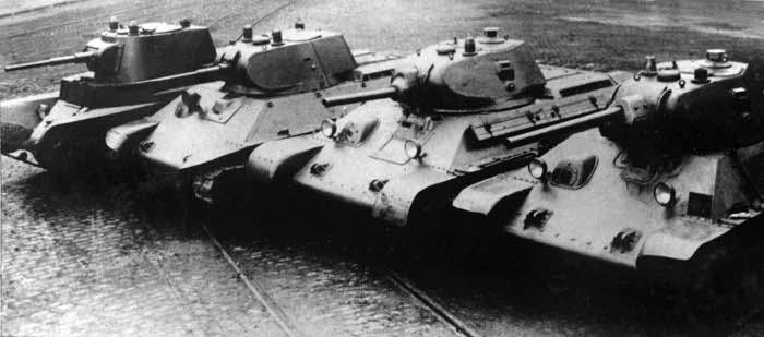 Prototypes of the formidable T-34 medium tank