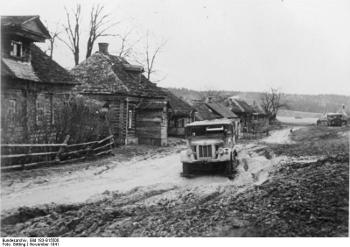 The rasputitsa effect - a village street near Moscow, November 1941