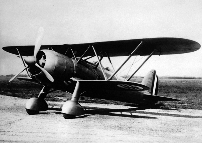 A Fiat CR. 42 Falco fighter parked