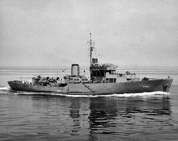 USS Intensity, a US-operated 'Flower class' corvette during World War II