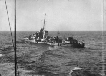 The sinking destroyer Nestor, on 16 June 1942