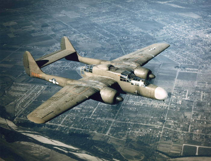 A P-61A-1NO of 419th Night Fighter Squadron in flight