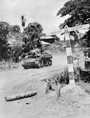 A Stuart light tank of an Indian cavalry regiment during the advance on Rangoon, April 1945