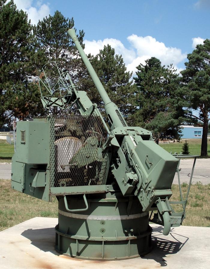 A single mounting Bofors 40mm gun
