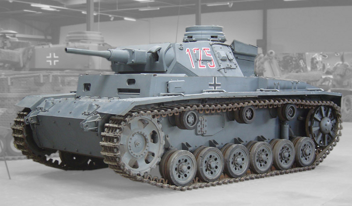 A PzKpfw III on display at the Musée des Blindés in France