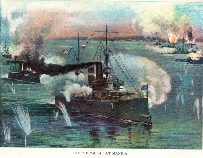 Dewey's flagship, the cruiser Olympia, arriving in Manila