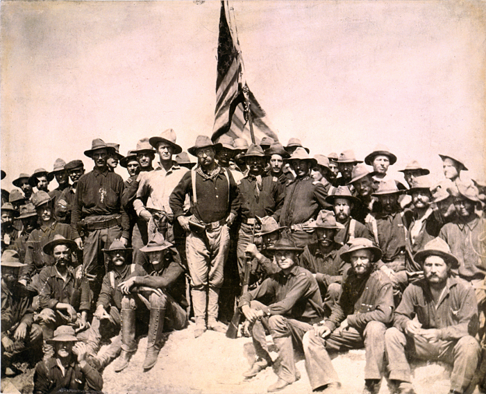 Theodore Roosevelt and the Rough Riders at the top of San Juan Hill