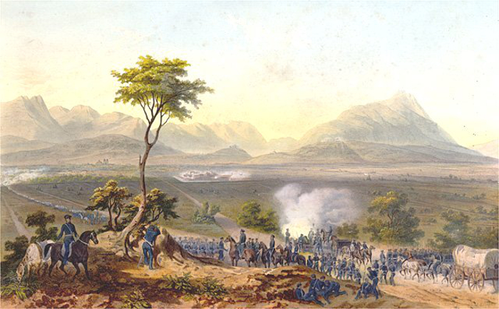 US troops marching on Monterrey during the Mexican-American War
