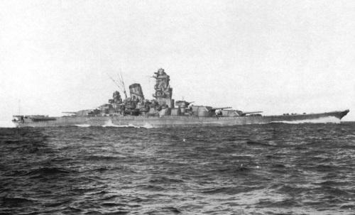Side view of a Yamato battleship