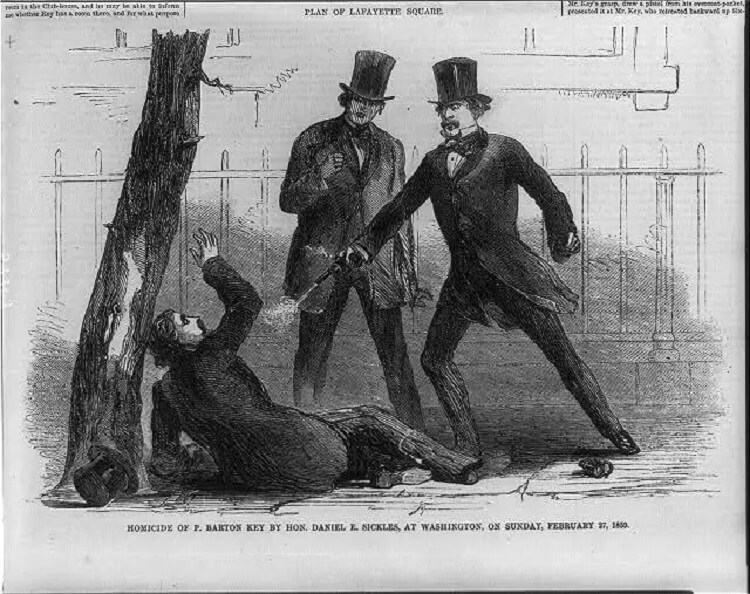 Illustration of the murder of Barton Key in 1859