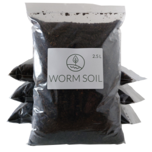Stacked worm soil bags