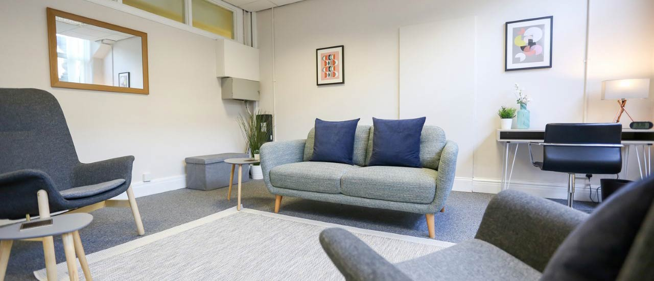 The therapy room at Discover Hypnosis' office