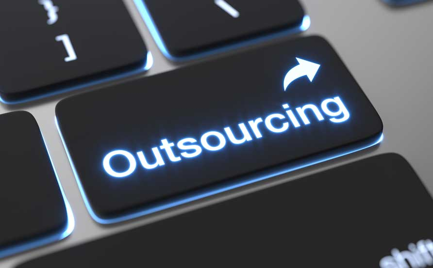 button on keyboard showing the word outsourcing IP