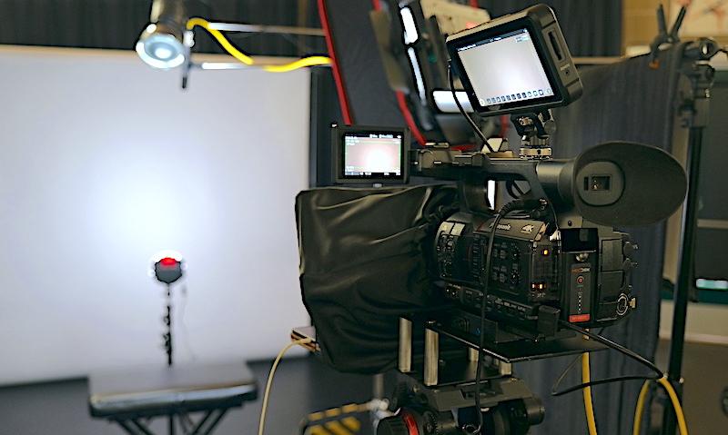 Portable TV studio set up ready to film talking head videos.