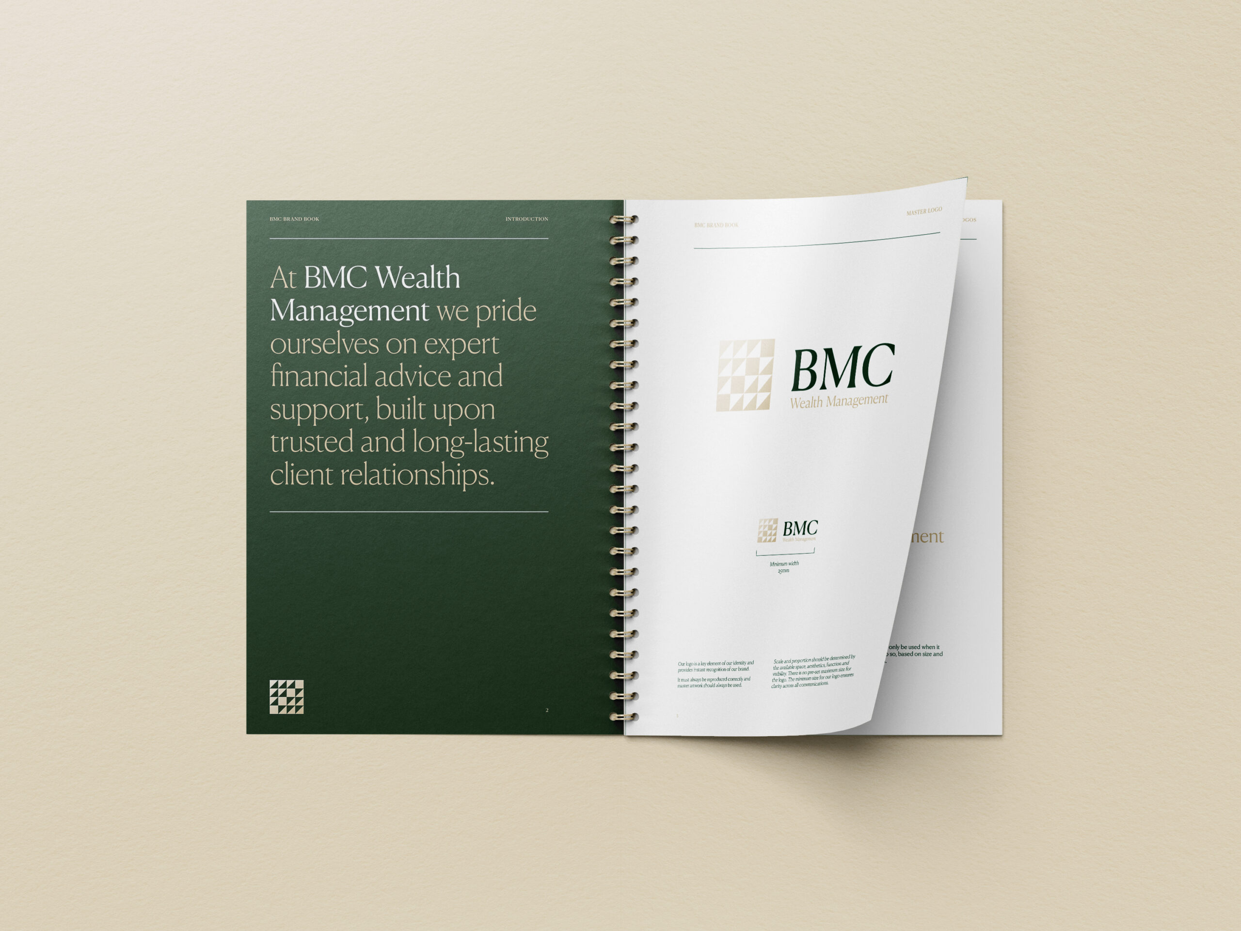 BMC Wealth Management brand guidelines printed in ring-bound book