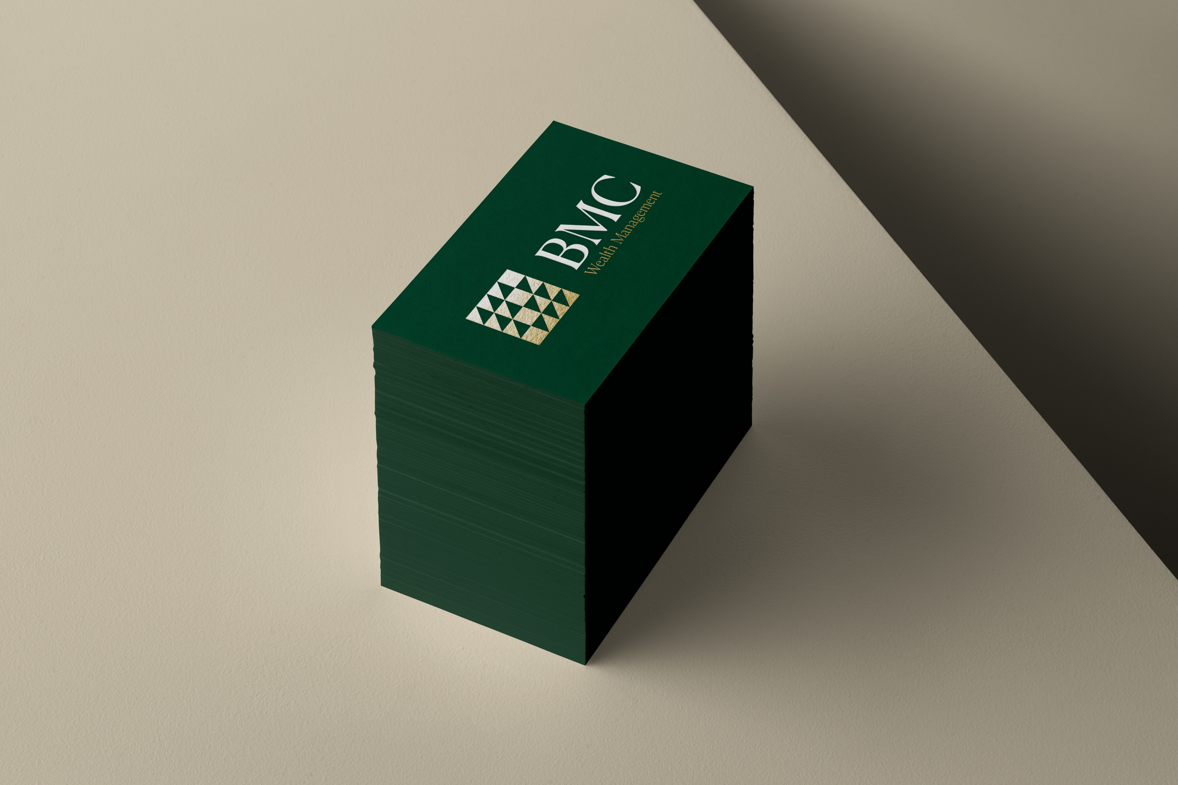 BMC Wealth Management stack of business cards on table