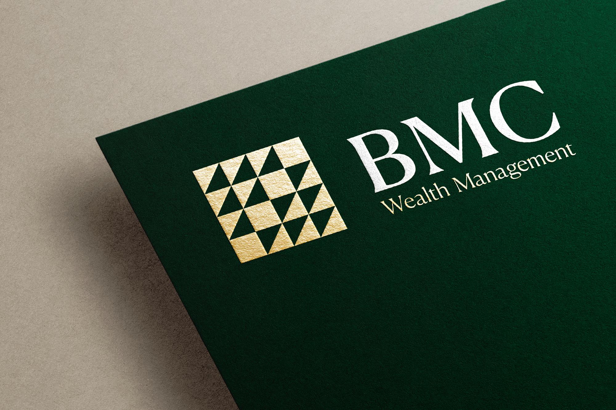 BMC Wealth Management logo foil printed onto green paper