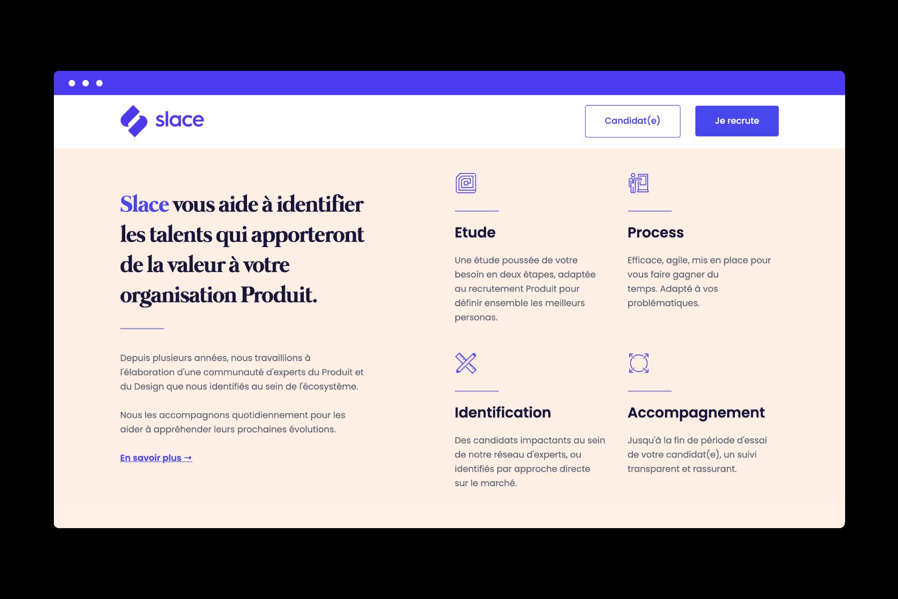 Slace website homepage design