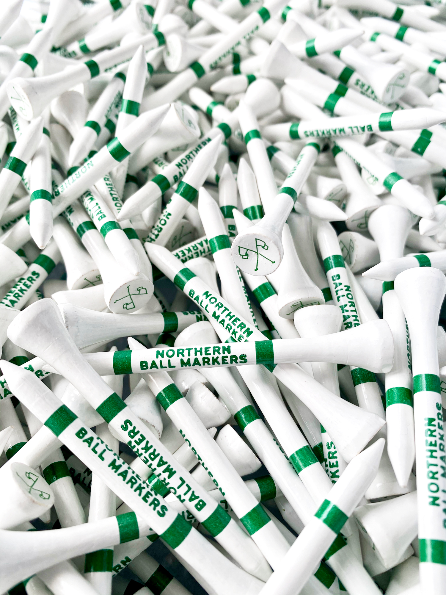 Northern Ball Markers branded golf tees