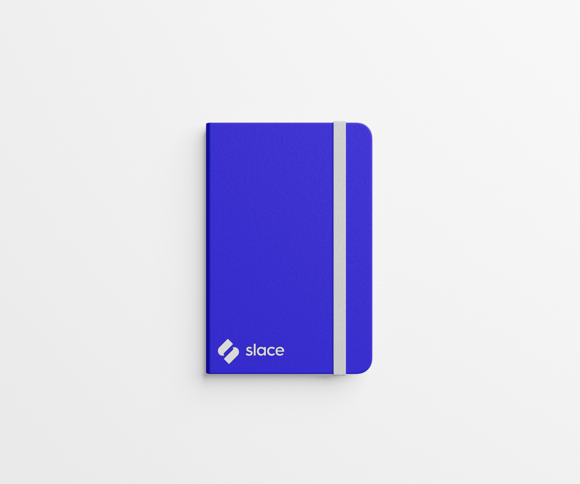 Slace branded notebook with blue cover