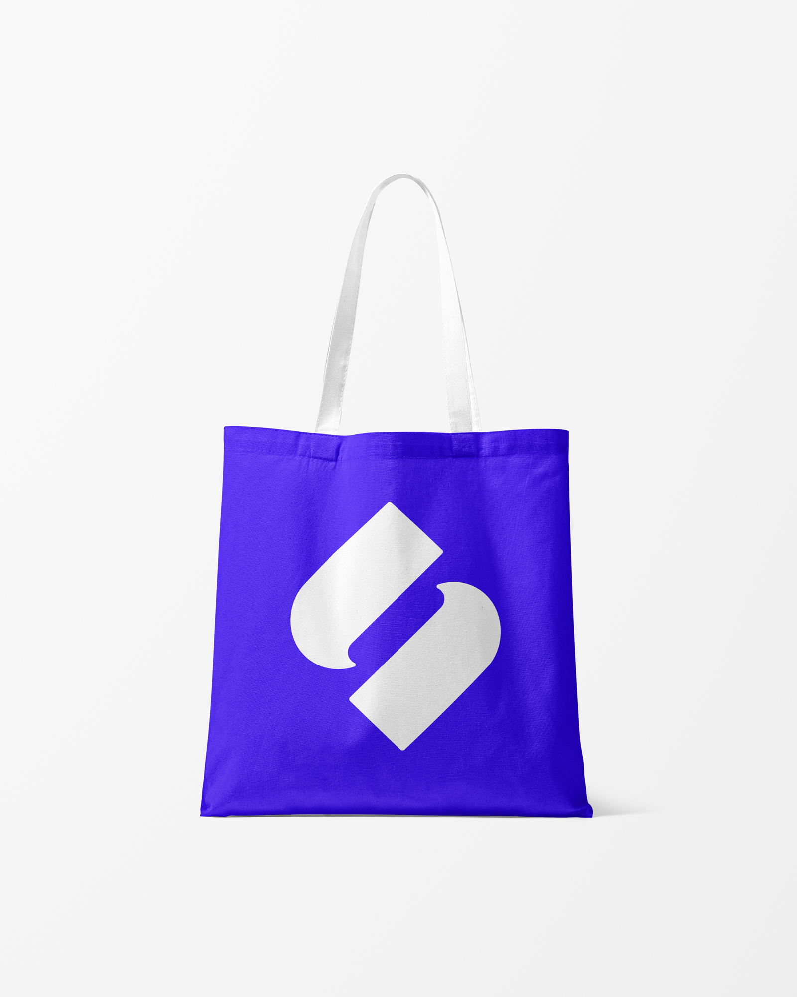 Slace branded tote bag in blue with white logo and handles