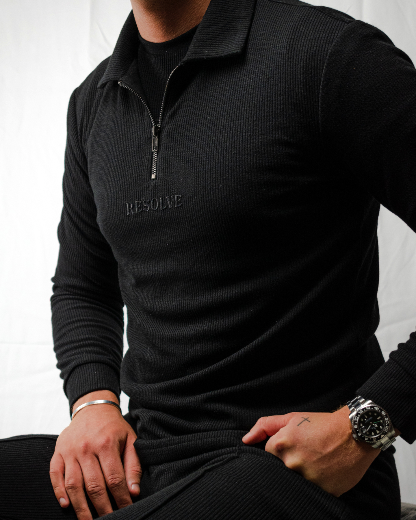 Resolve Clothing logo embroidered onto zip up jumper