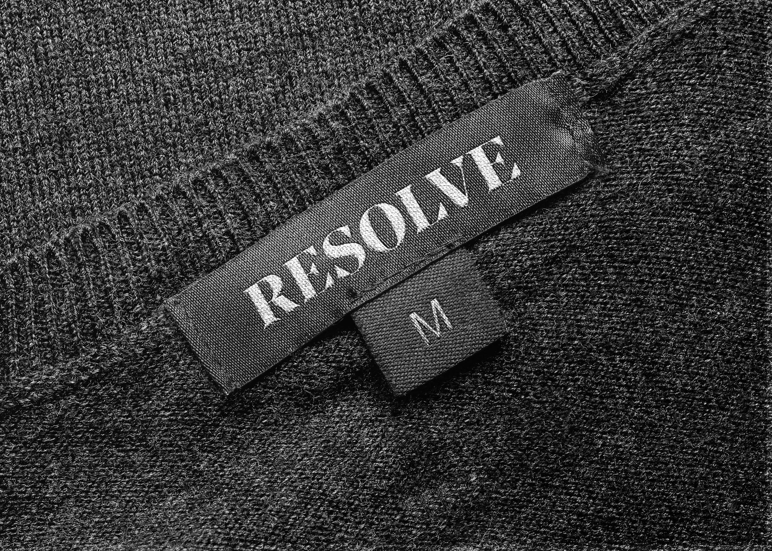 Resolve Clothing logo stitched into clothing label