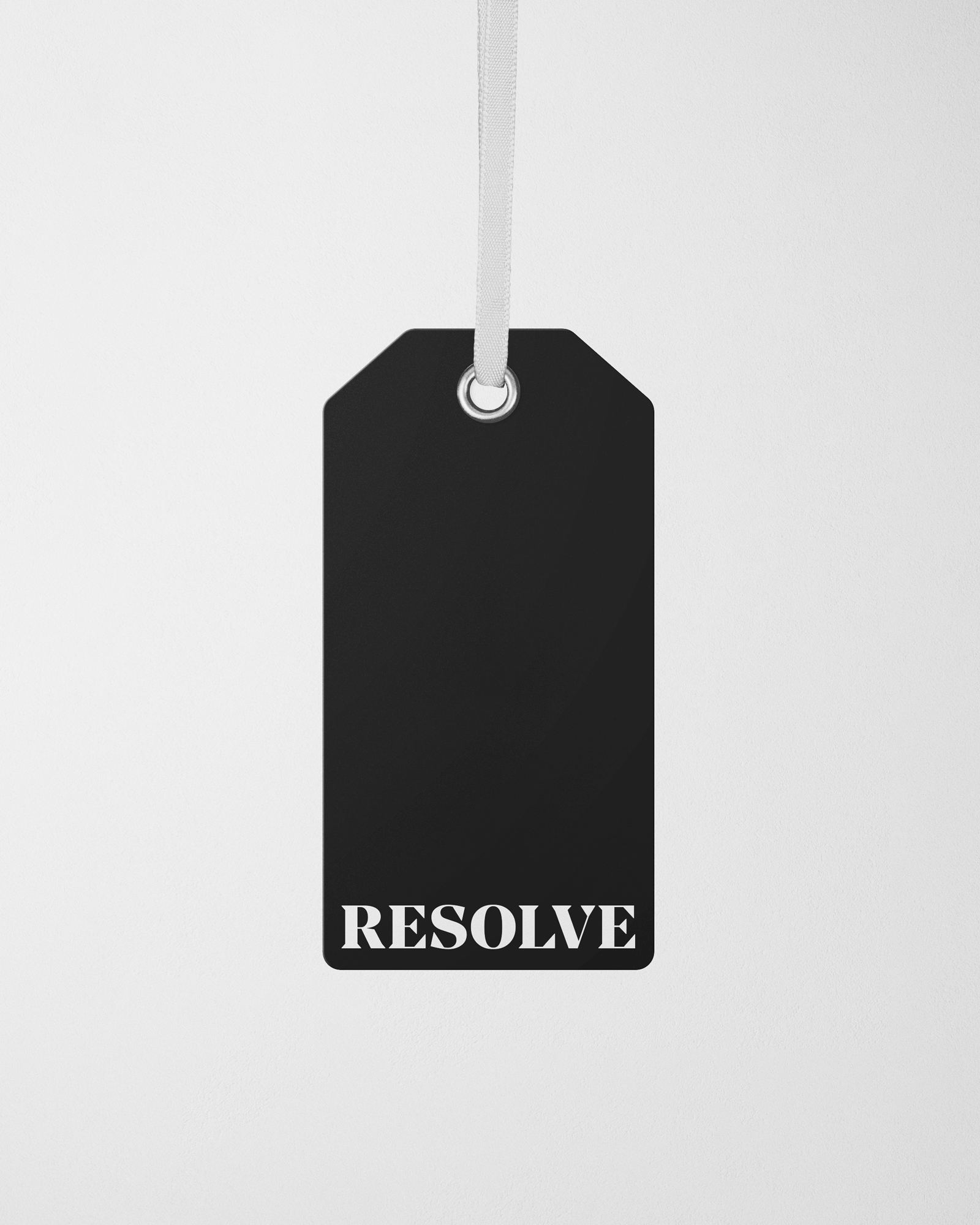 Resolve Clothing branded label swing tag