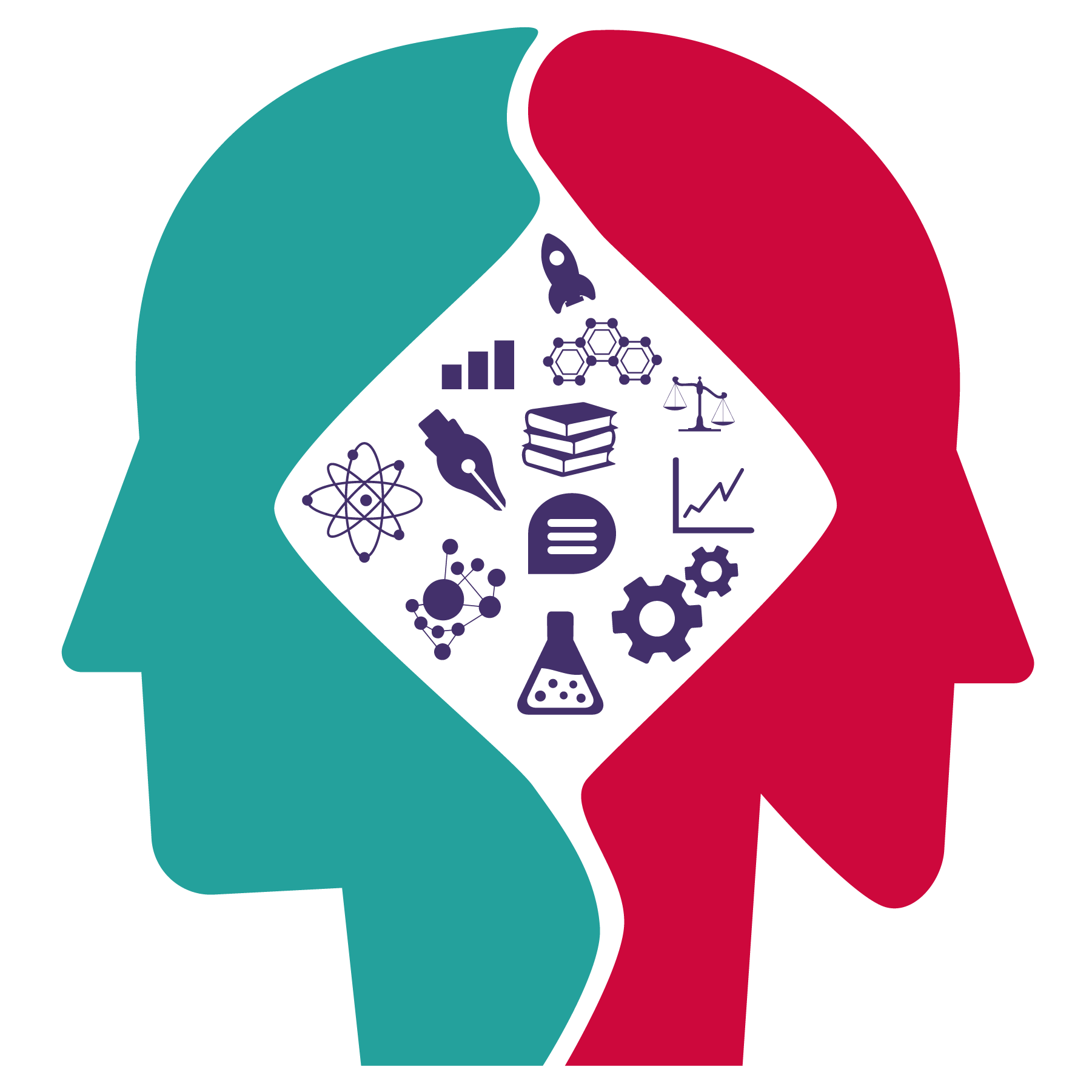 Two heads forming a whole, in the middle there are icons of speech bubbles, chemistry, pens, books, and others